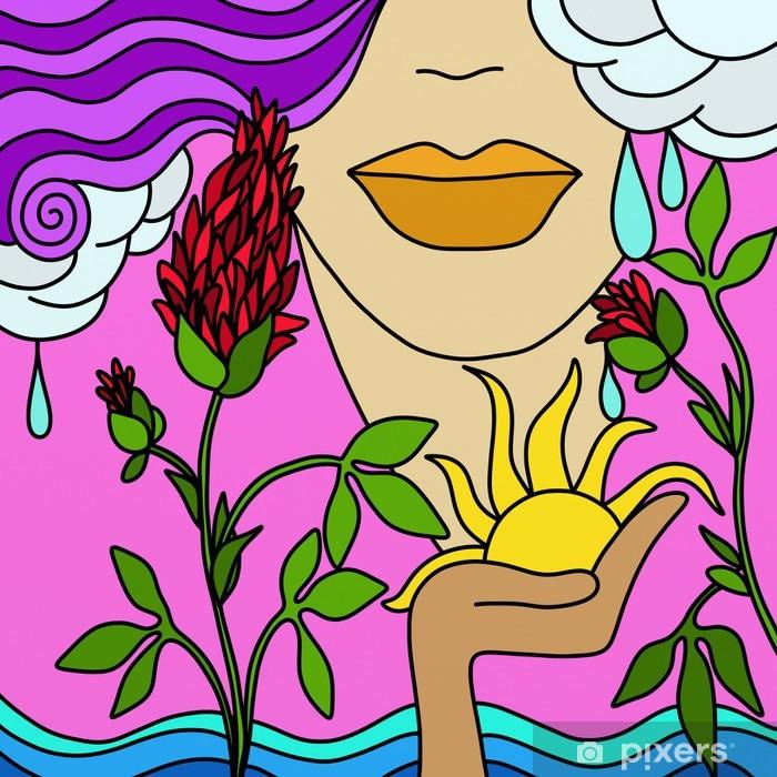 Naklejka Pixerstick Czerwony kwiat - Cuda natury