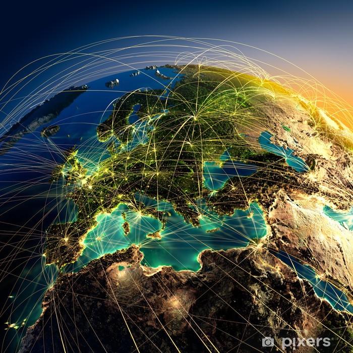 Fototapeta winylowa Główne trasy lotnicze w Europie - iStaging
