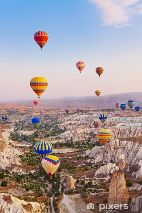 Hot air balloon flying over Cappadocia Turkey Pixerstick Sticker - Mountains