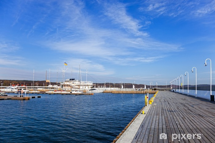 Marina to the pier from the city flag on the mast in Sopot Self-Adhesive Wall Mural - Themes