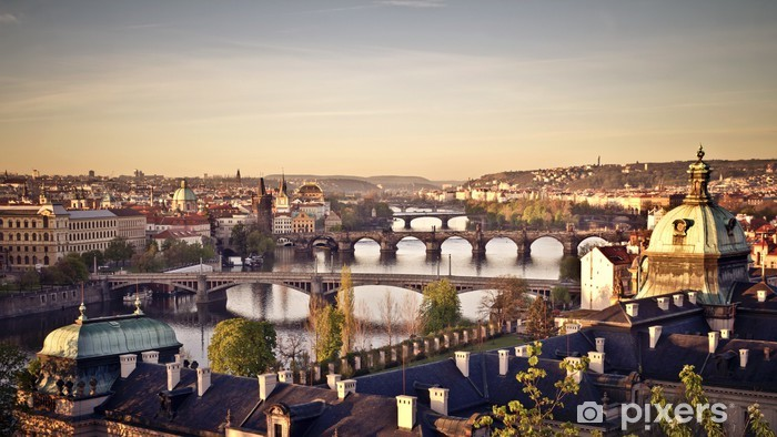 Sticker Pixerstick Prague au lever du soleil - Villes européennes