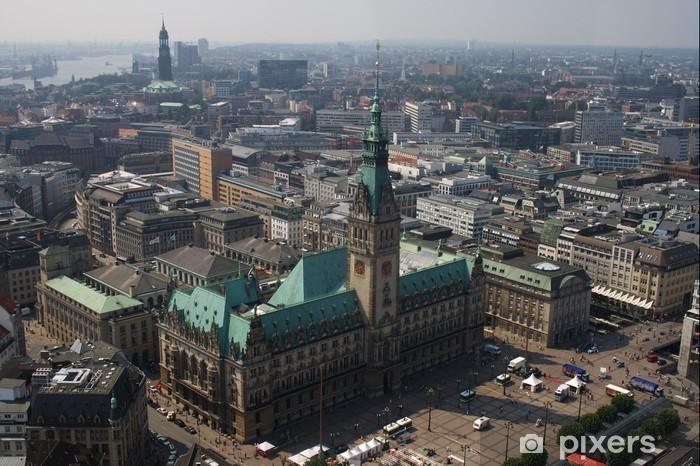 Nálepka Pixerstick Hamburk, Rathaus, Skyline, Deutschland - Prázdniny