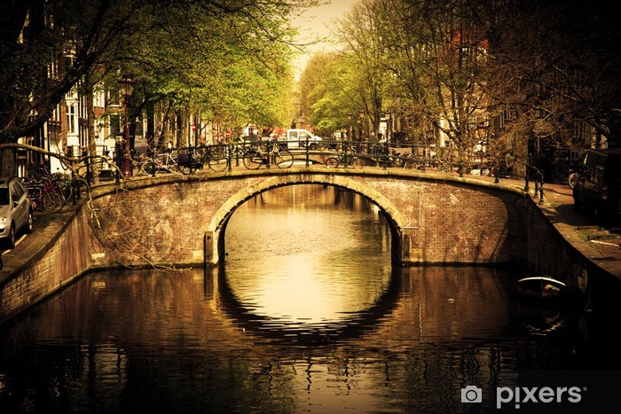 Amsterdam. Romantic bridge over canal. Pixerstick Sticker - Themes