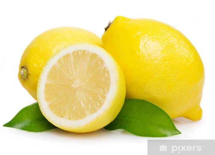 Fototapeta winylowa Cytryny z liśćmi - Owoce