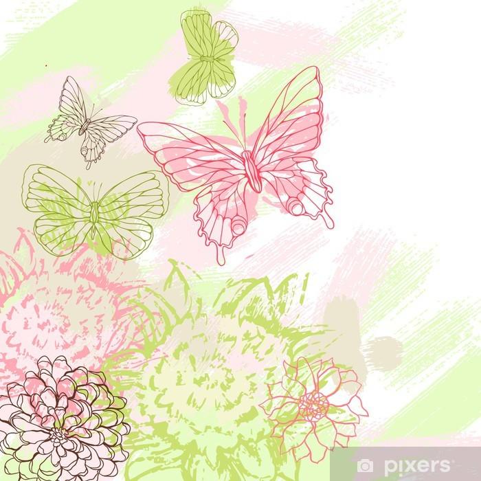 Vinyl-Fototapete Bunte Grunge Hintergrund mit Schmetterling. Vektor-Illustration. - Stile
