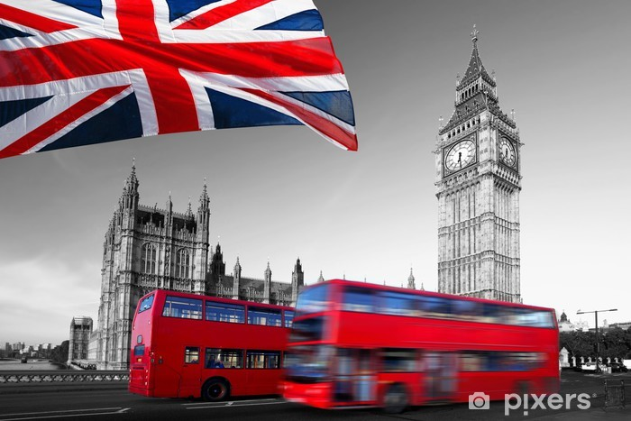 Big Ben with city buses and flag of England, London Self-Adhesive Wall Mural - Themes