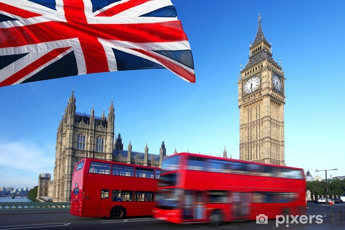 Big Ben with city bus and flag of England, London Pixerstick Sticker - Themes