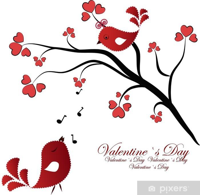 Poster Amoureux birdies sur une branche avec des coeurs - Bonheur