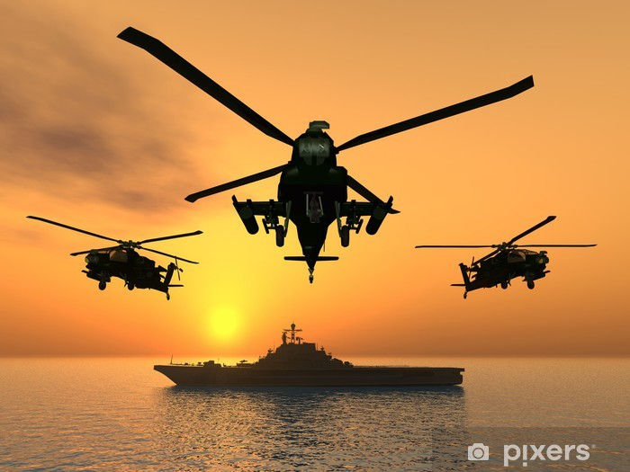 Papier peint vinyle Hélicoptère Apache - Thèmes
