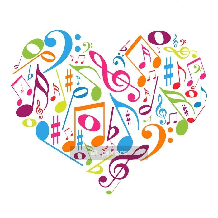 Naklejka na ścianę Kolorowe serca z nut - miłość do muzyki - Naklejki na ścianę