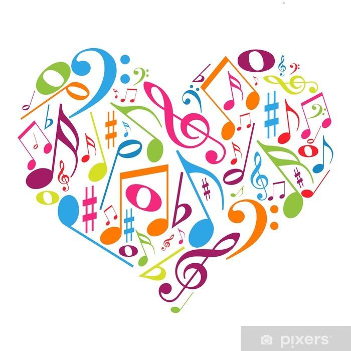 Coração colorido com notas musicais - gosto pela música Vinyl Wall Mural - Wall decals