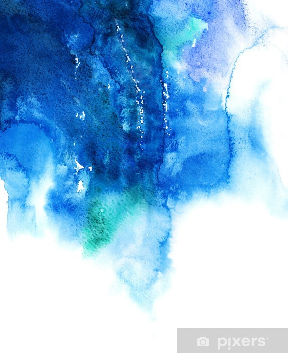 Blue watercolor abstract hand painted background Vinyl Wall Mural - Destinations