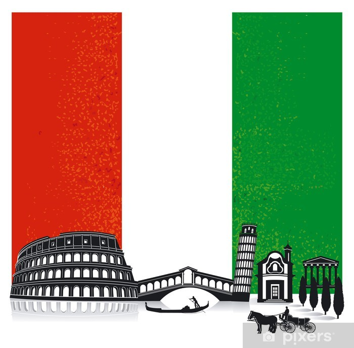 Italien mit Fahne Pixerstick Sticker - Holidays