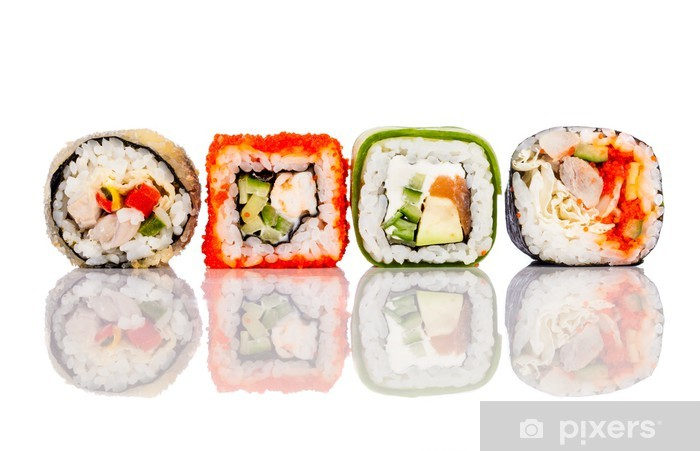 Naklejka Pixerstick Roll Sushi na białym tle - Sushi