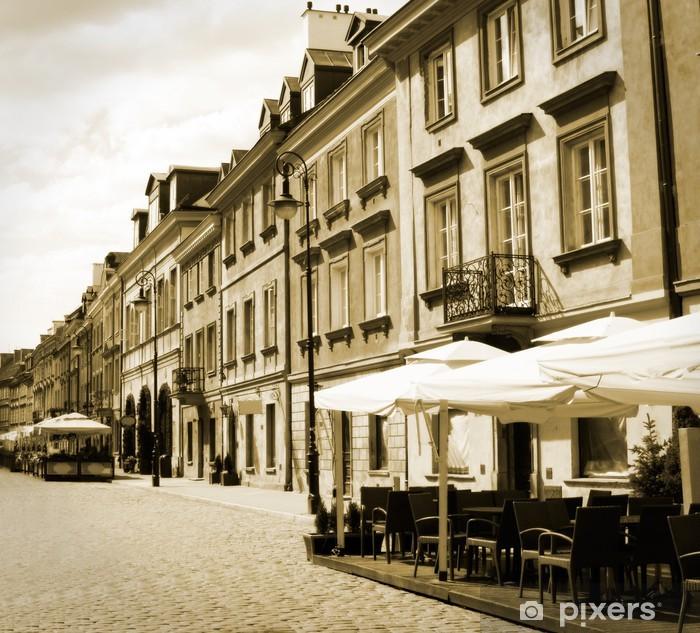 Fototapeta winylowa Stare miasto, ulica, Warszawa, Polska - w sepii - Tematy