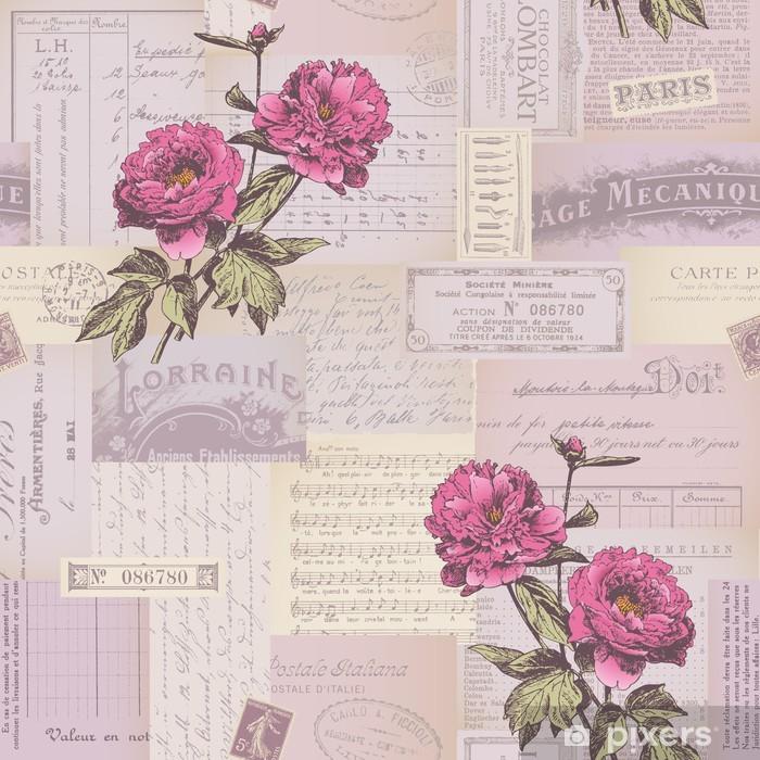 Vinyl Fotobehang Naadloos betegelen papier collage patroon met pioenen - Stijlen