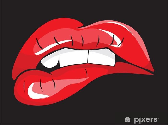Papier peint vinyle Mordait les lèvres rouges dents - Thèmes