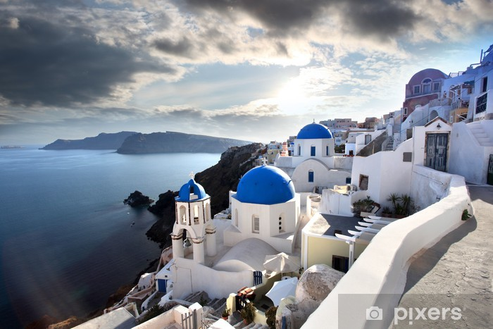 Santorini with Traditional Churches in Oia, Greece Vinyl Wall Mural - Themes
