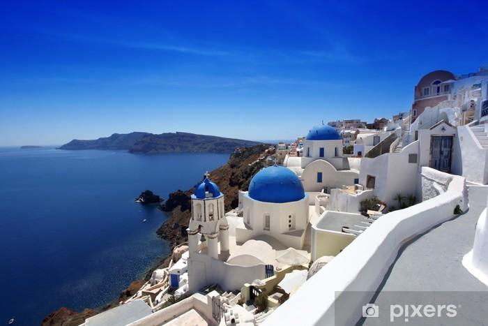 Vinil Duvar Resmi Oia, Yunanistan Geleneksel Kiliseler Santorini -