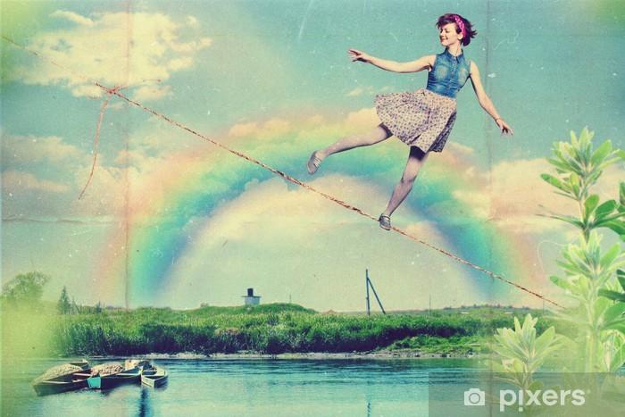 Sticker Pixerstick Art de collage avec belle femme - Les arcs-en-ciel