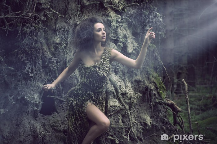 Vinyl-Fototapete Sexy Frau als Teil des Baumes - Beauty und Körperpflege