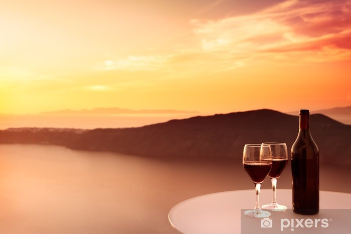 Vinyl-Fototapete Red Wine Sunset - Themen