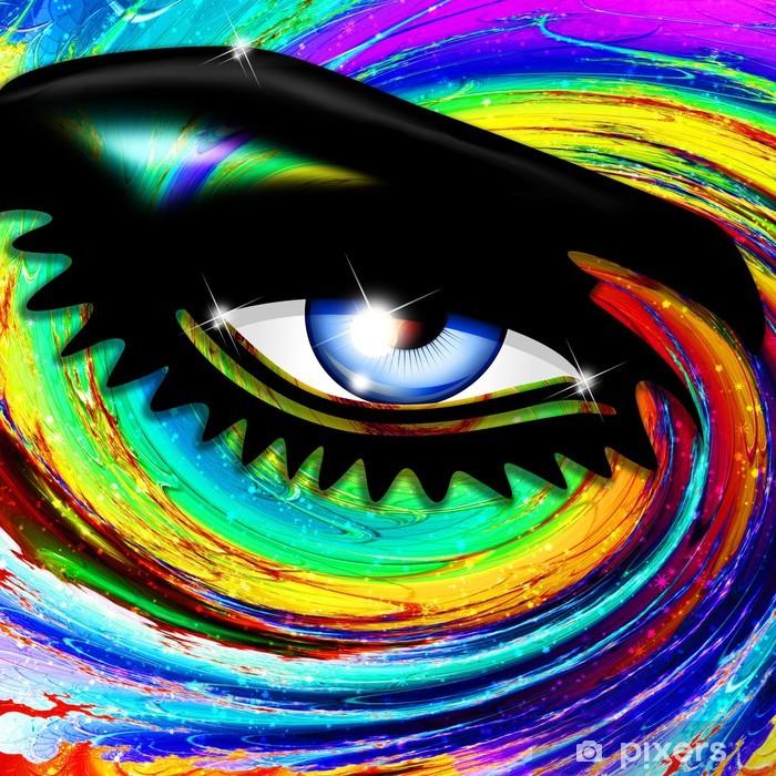 Vinilo Pixerstick Chica psicodélico Eye-psicodélico hipnótico hipnótico del ojo - iStaging