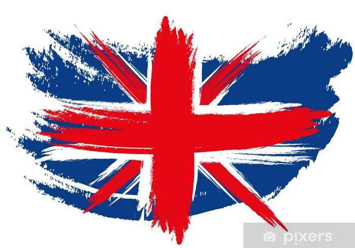 Papier peint vinyle Drapeau d'Union Jack esquissé - Villes européennes
