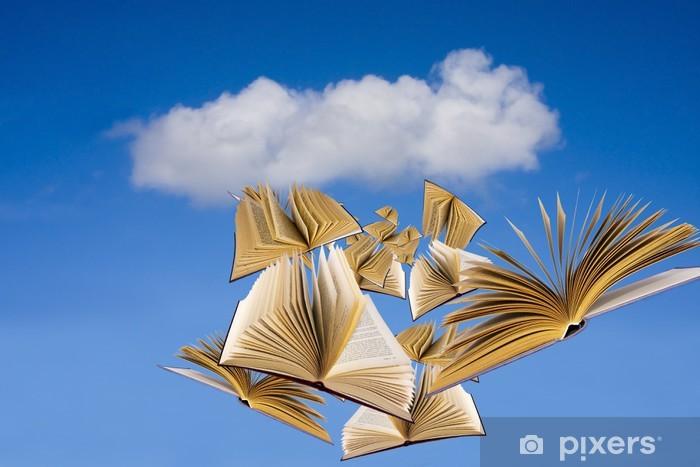 Carta da parati libri che volano sul cielo blu pixers for Carta parati libri
