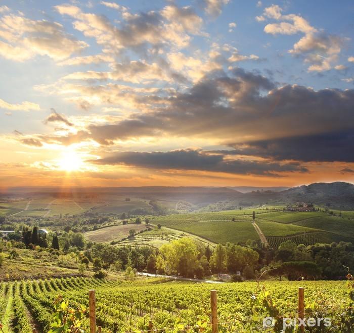 Vinilo Pixerstick Chianti viñedo paisaje en Toscana, Italia - iStaging