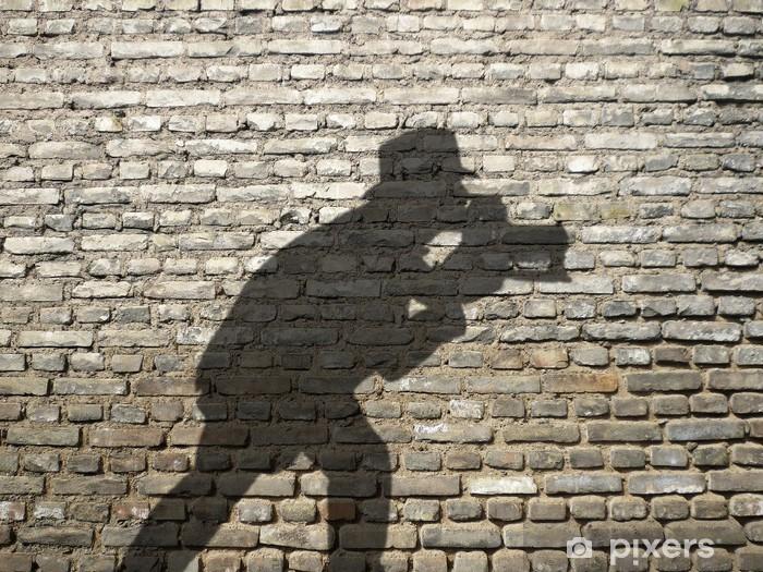 Mural de Parede em Vinil ombre de photographe sur mur de briques - Signos e Símbolos