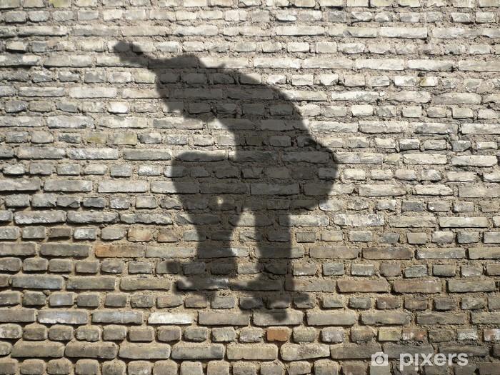 ombre de skate-boarder sur mur de briques Pixerstick Sticker - Skateboarding