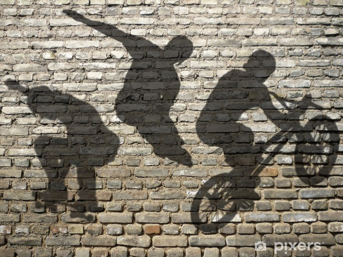 Fotomural Estándar Sombras Skate, BMX y Roller en la pared de ladrillo - Skate