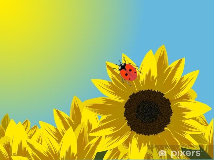 Naklejka Pixerstick Żółte słoneczniki na niebieskim tle - Tematy