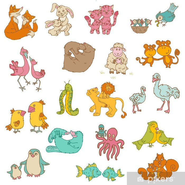 Baby Animals with Moms - for your design and scrapbook - hand dr Vinyl Wall Mural - Mammals