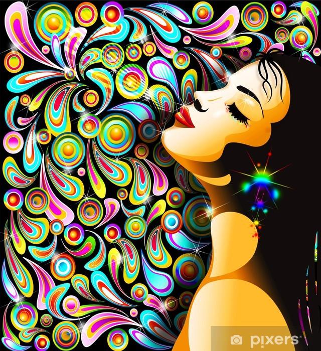 Fototapeta winylowa Bella ragazza Bacio-girl pocałunek-kolorowe pop art design -