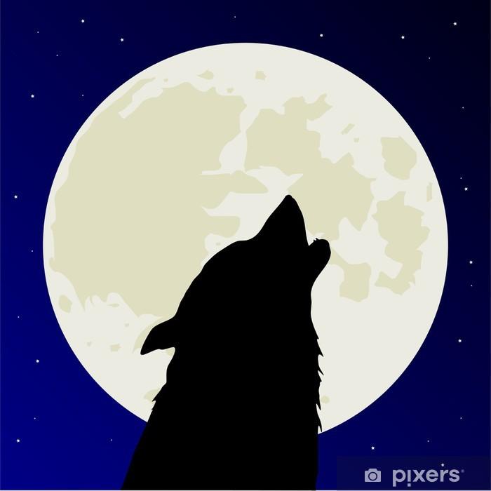 дизайне картинка волк рисунка луна бегония
