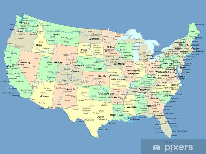 Amerika Karte Staaten.Selbstklebende Fototapete Usa Karte Mit Namen Von Staaten Und Stadte