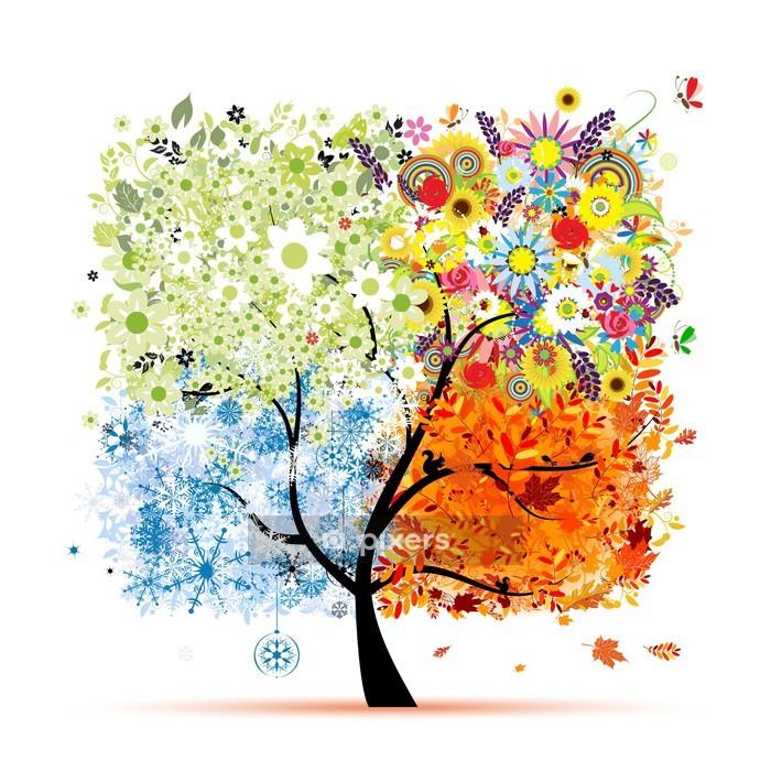 Four seasons - spring, summer, autumn, winter. Art tree Wall Decal - Wall decals