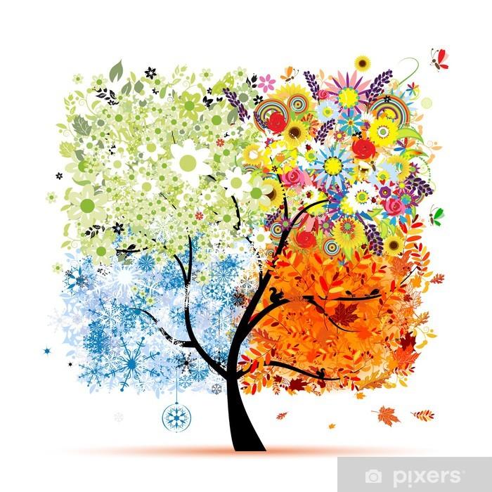 Vinilo para Nevera Cuatro estaciones - primavera, verano, otoño, invierno. Arte árbol - Vinilo para pared