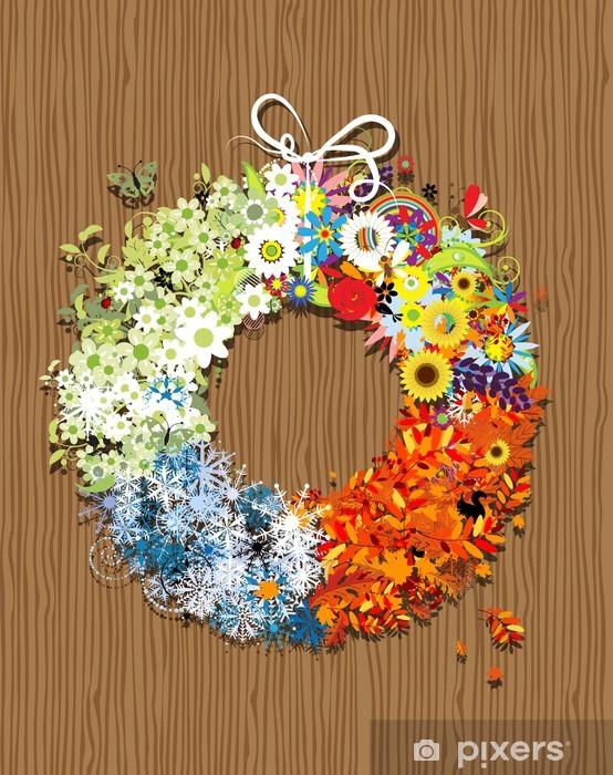 Naklejka Pixerstick Cztery ramki pory roku - wiosna, lato, jesień, zima. - Pory roku