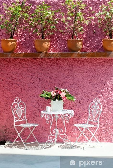 Carta da Parati in Vinile Soggiorno, sedia bianca e rosa muro