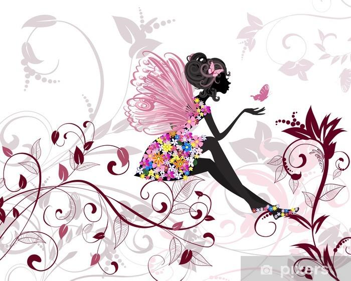 Sticker Pixerstick Fée de fleur avec papillons -