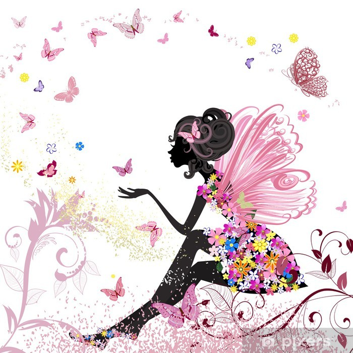 Vinyl-Fototapete Flower Fairy in der Umgebung von Schmetterlingen - Stile