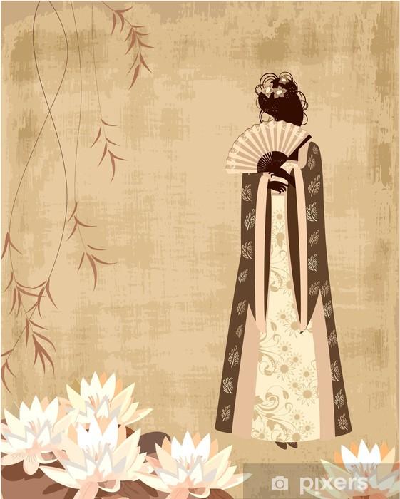 Fototapeta winylowa Chińska dziewczyna na starym papierze grunge - Style