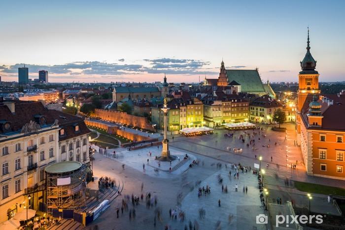 Pixerstick Sticker Panorama van Warschau met de oude stad 's nachts - Thema's