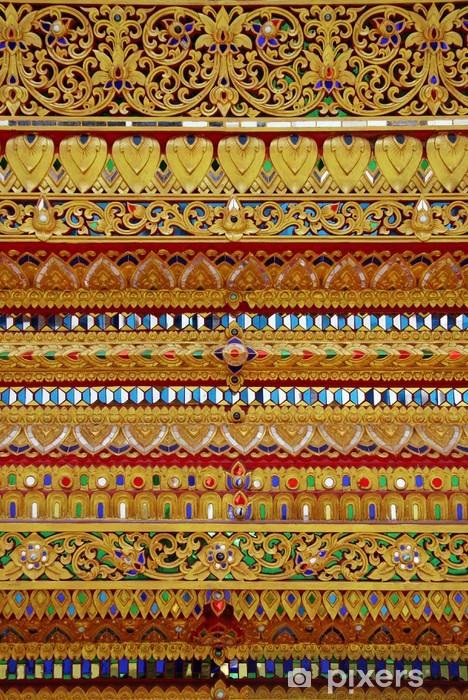 Papier peint vinyle Le motif de d'or thaïlandaise de verre coloré - Arrière plans