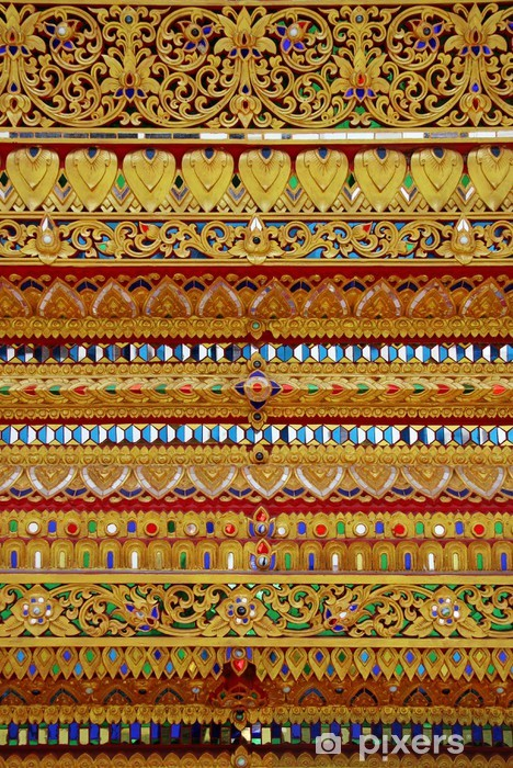 golden Thai's pattern made from colorful glass Vinyl Wall Mural - Backgrounds