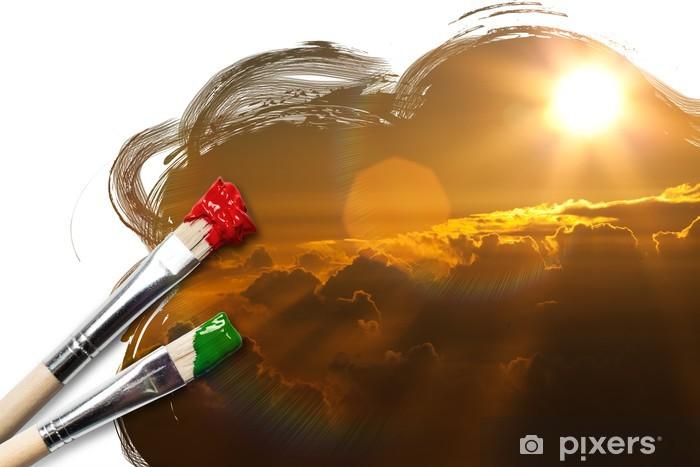 gemalter Sonnenaufgang Vinyl Wall Mural - Skies