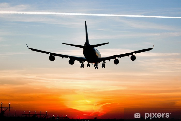 Papier peint vinyle Atterrissage d'avion au lever du soleil - Thèmes